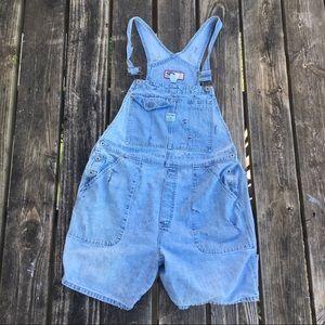 Gap Distressed Cut Denim Overall Shorts